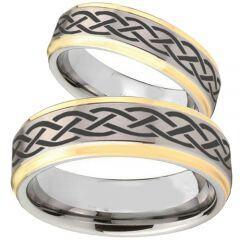 (Wholesale)Tungsten Carbide Celtic Step Edges Ring - TG1018