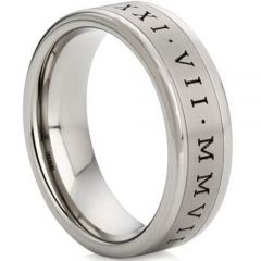 (Wholesale)Tungsten Carbide Ring With Roman Numerals - TG1105