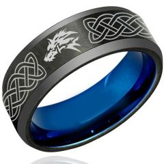 (Wholesale)Tungsten Carbide Black Blue Wolf Celtic Ring-1222