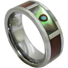 (Wholesale)Tungsten Carbide Wood Abalone Shell Ring - 1224