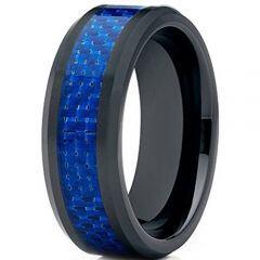 (Wholesale)Black Tungsten Carbide Carbon Fiber Ring-TG2423