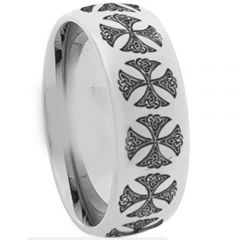(Wholesale)Tungsten Carbide Dome Cross Ring - TG1289