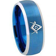 (Wholesale)Tungsten Carbide Masonic Beveled Edges Ring - 1867