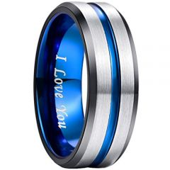 (Wholsale) Tungsten Carbide Blue Black Beveled Edges Ring-1903