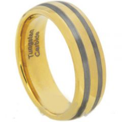 (Wholesale)Tungsten Carbide Dome Double Lines Ring - TG1920