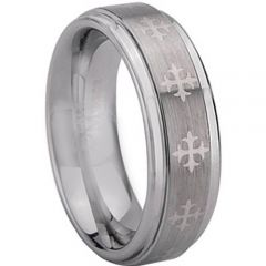 (Wholesale)Tungsten Carbide Cross Step Edges Ring - TG1971
