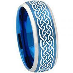 (Wholesale)Tungsten Carbide Celtic Beveled Edges Ring - 2043