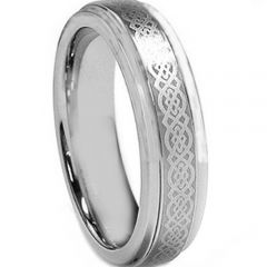 (Wholesale)Tungsten Carbide Celtic Step Edges Ring - TG2126