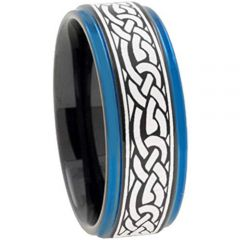 (Wholesale)Tungsten Carbide Black Blue Celtic Ring - TG2211