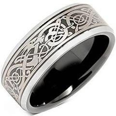 (Wholesale)Tungsten Carbide Beveled Edges Dragon Ring - TG4657AA