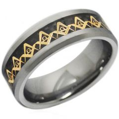 (Wholesale)Tungsten Carbide Masonic Carbon Fiber Ring - TG2381