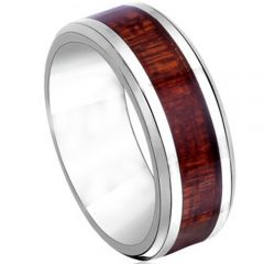 (Wholesale)Tungsten Carbide Wood Ring - TG2594
