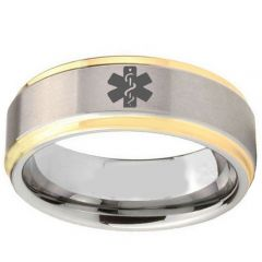 (Wholesale)Tungsten Carbide Medic Alert Step Edges Ring - TG2407