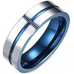 (Wholesale)Tungsten Carbide Vertical & Horizontal Groove Ring-25