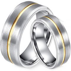 (Wholesale)Tungsten Carbide Center Groove Ring - TG2793