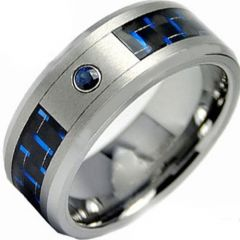 (Wholesale)Tungsten Carbide Carbon Fiber & CZ Ring - TG3087