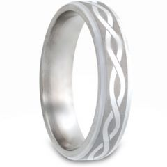 (Wholesale)Tungsten Carbide Infinity Step Edges Ring - TG2980