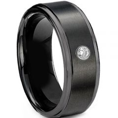 (Wholesale)Black Tungsten Carbide Ring With CZ-TG3405