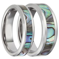 (Wholesale)Tungsten Carbide Abalone Shell Ring-4070