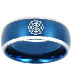 (Wholesale)Tungsten Carbide Firefighter Ring - TG3187