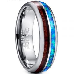 (Wholesale)Tungsten Carbide Imitated Opal & Wood Ring - TG3362BB