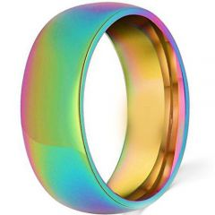 (Wholesale)Tungsten Carbide Dome Rainbow Pride Ring - TG4194