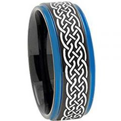 (Wholesale)Tungsten Carbide Black Blue Celtic Ring - TG3400AA