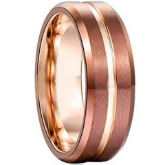 (Wholesale)Rose Tungsten Carbide Center Groove Ring-356