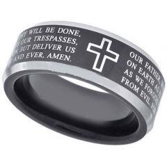 (Wholesale)Tungsten Carbide Cross Prayer Ring - TG3586