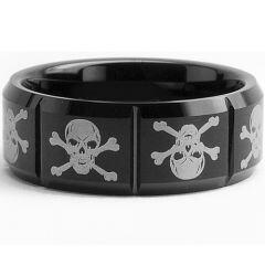 (Wholesale)Black Tungsten Carbide Skull & Bones Ring-361