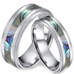 (Wholesale)Tungsten Carbide Abalone Shell Ring-3635