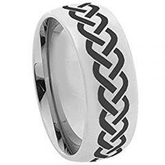 (Wholesale)Tungsten Carbide Dome Celtic Ring - 3644