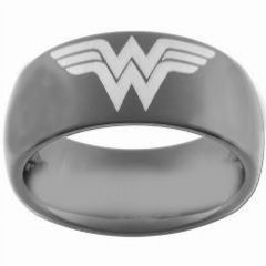 (Wholesale)Black Tungsten Carbide Wonder Woman Ring - TG3681