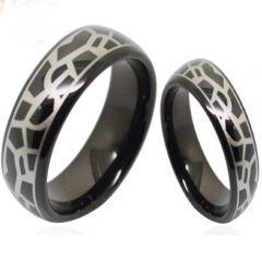 (Wholesale)Black Tungsten Carbide Snake Skin Pattern Ring-3687