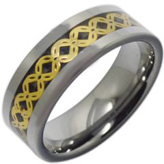 (Wholesale)Tungsten Carbide Gold Tone Celtic Inlays Ring-3796