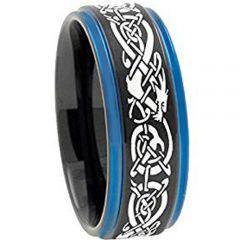 (Wholesale)Tungsten Carbide Black Blue Dragon Ring-TG3797