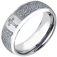 (Wholesale)Tungsten Carbide Cross Beveled Edges Ring - TG3856
