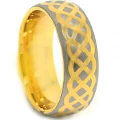 (Wholesale)Tungsten Carbide Dome Celtic Ring-3876