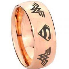 (Wholesale)Tungsten Carbide Wonder Woman Superman Ring - TG3893