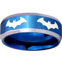 (Wholesale)Tungsten Carbide Batman Beveled Edges Ring - TG3867