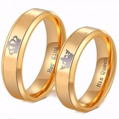(Wholesale)Tungsten Carbide King Queen Crown Ring - TG4056