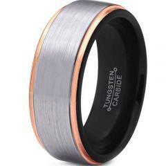 (Wholesale)Tungsten Carbide Black Gold Step Edges Ring-4075