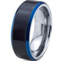 (Wholesale)Tungsten Carbide Black Blue Beveled Edges Ring-4098