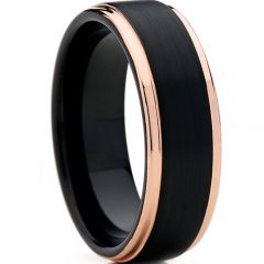 (Wholesale)Tungsten Carbide Black Rose Step Edges Ring-4102