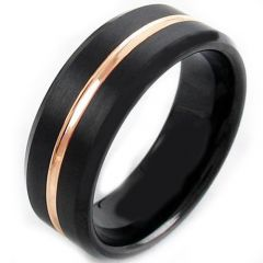 (Wholesale)Tungsten Carbide Black Rose Center Groove Ring-4118