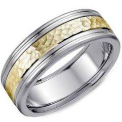 (Wholesale)Tungsten Carbide Hammered Ring - TG4160