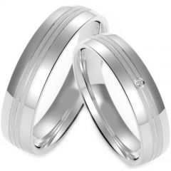 (Wholesale)Tungsten Carbide Triple Groove Ring - TG4217
