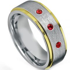 (Wholesale)Tungsten Carbide Ring With Created Ruby-4264