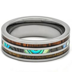 (Wholesale)Tungsten Carbide Wood & Shell Ring - TG4285
