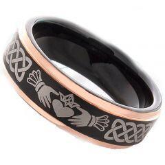 (Wholesale)Tungsten Carbide Black Rose Mo Anam Cara Celtic Ring-